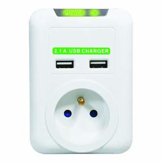Bezkabelová přepěťová ochrana, 1 zásuvka, bílá, Logo, 2x USB