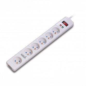 Prodlužovací přepěťová ochrana, 3m, 6 zásuvek, bílá, LED indikace, Logo