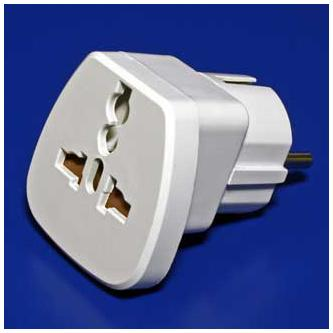 230V Cestovní adaptér, CEE7 (vidlice)-zásuvka, 0, bílý, pro zahraniční přístroje