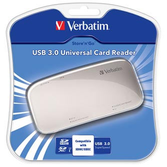 Verbatim čtečka paměťových karet USB (3.0), SD, microSD, xD, CompactFlash, externí, stříbrná