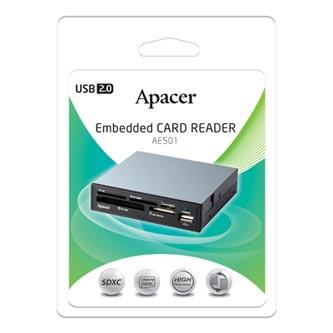 Apacer interní čtečka paměťových karet USB (2.0), AM530, microSD, SD,Compact Flash,Memory Stick PRO, interní, černá