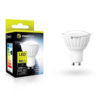 LED žárovka Moonlight GU10, 220-240V, 7W, 570lm, 6000k, studená, 25000h, 2835, 50mm/54mm