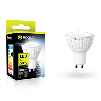 LED žárovka Moonlight GU10, 220-240V, 5W, 405lm, 6000k, studená, 25000h, 2835, 50mm/54mm