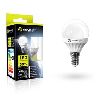 LED žárovka Moonlight E14, 220-240V, 5W, 405lm, 3000k, teplá, 25000h, 2835, 45mm/83mm