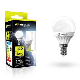 LED žárovka Moonlight E14, 220-240V, 5W, 405lm, 6000k, studená, 25000h, 2835, 45mm/83mm