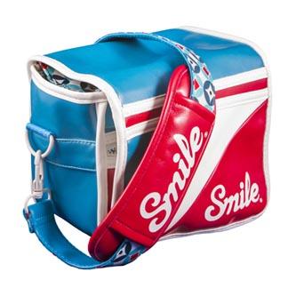 Taška na fotoaparát, eko kůže/nylon, barevná, Mod Style S, s popruhem, 2v1 oboustranná, Smile