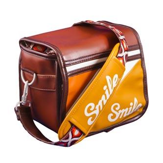 Taška na fotoaparát, eko kůže/nylon, oranžová, 70ś Style S, s popruhem, 2v1 oboustranná, Smile