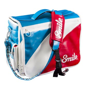 Taška na fotoaparát, eko kůže/nylon, barevná, Mod Style L, s popruhem, 2v1 oboustranná, Smile