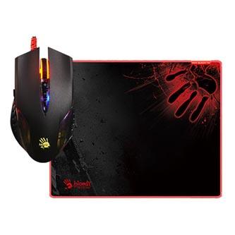 A4tech Myš BLOODY Q5081S, 3200DPI, optická, 8tl., 1 kolečko, drátová USB, černá, s herní podložkou, metalické podložky