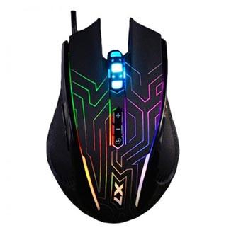 A4tech Myš X87 Oscar Neon, 2400DPI, optická, 8tl., 1 kolečko, drátová USB, černá, herní, Neonové podsvícení