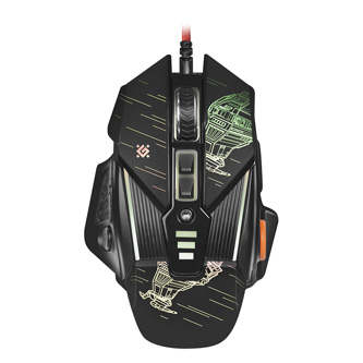 Defender Myš sTarx GM-390L, 3200DPI, optická, 8tl., 1 kolečko, drátová USB, černá, herní, vyměnitelná závaží, podsvícená