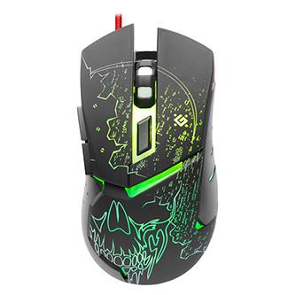 Defender Myš Alfa GM-703L, 3200DPI, optická, 6tl., 1 kolečko, drátová USB, černá, herní, podsvícená
