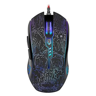 Defender Myš OverLord GM-890, 3200DPI, optická, 6tl., 1 kolečko, drátová USB, černá, herní, RGB
