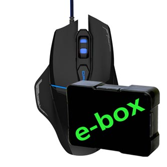 E-Blue Myš Mazer V2, 2500DPI, optická, 6tl., 1 kolečko, drátová USB, černá, herní, e-box