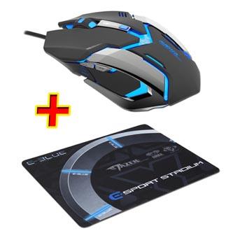 E-Blue Myš Auroza Gaming, 4000DPI, optická, 6tl., 1 kolečko, drátová USB, černá, herní, PROMO, e-box