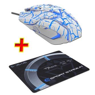 E-Blue Myš Auroza Gaming, 4000DPI, optická, 6tl., 1 kolečko, drátová USB, bílá, herní, PROMO