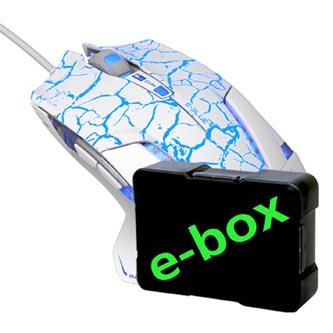 E-Blue Myš Mazer Pro, 2500DPI, optická, 6tl., 1 kolečko, drátová USB, bílo-modrá, herní, e-box