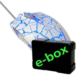 E-Blue Myš Cobra, 2500DPI, optická, 6tl., 1 kolečko, drátová USB, bílo-modrá, herní, e-box