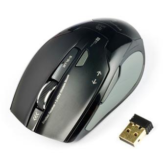 E-Blue Myš ARCO 2, 2 ks AAA, 2.4 [GHz], optická, 6tl., 1 kolečko, bezdrátová, černá, 1600DPI, NANO přijímač