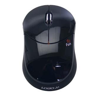 Logo Myš Fun, 1000DPI, 2.4 [GHz], optická, 3tl., 1 kolečko, bezdrátová, černá