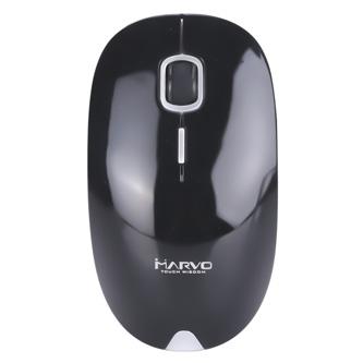 Marvo Myš DWM101BK, 1600DPI, 2.4 [GHz], optika, 4tl., 1 kolečko, bezdrátová, černá, AA, kancelářská