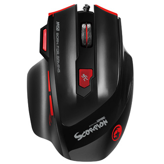 Marvo Myš M450, 6400DPI, optika, 7tl., 1 kolečko, drátová USB, černo-červená, herní, podsvícená