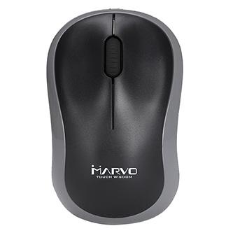 Marvo Myš DWM100GY, 1000DPI, 2.4 [GHz], optika, 3tl., 1 kolečko, bezdrátová, černo-šedá, 1 ks AAA, kancelářská