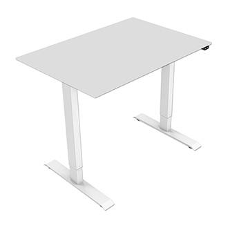 Pracovní stůl, elektricky nastavitelná výška, šedá deska, 75x120cm, hloubka 500 mm, 100V-240V, bílý, 70 kg nosnost, ergo