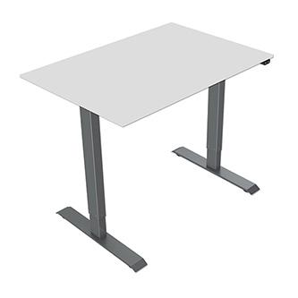 Pracovní stůl, elektricky nastavitelná výška, šedá deska, 75x140cm, hloubka 500 mm, 100V-240V, šedý, 70 kg nosnost, ergo