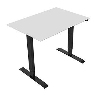 Pracovní stůl, elektricky nastavitelná výška, šedá deska, 75x140cm, hloubka 500 mm, 100V-240V, černý, 70 kg nosnost, ergo
