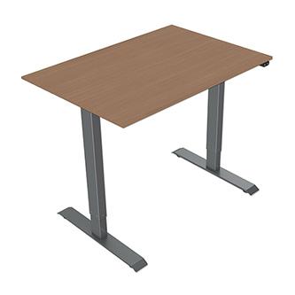 Pracovní stůl, elektricky nastavitelná výška, buk, 75x120cm, rozsah 500 mm, 100V-240V, šedý, 70 kg nosnost, ergo