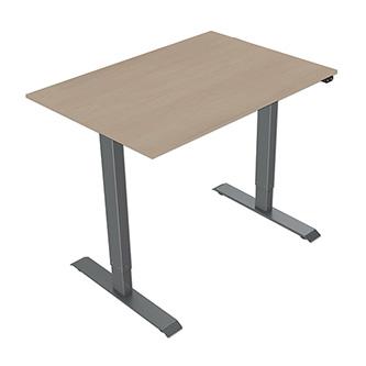 Pracovní stůl, elektricky nastavitelná výška, javor, 75x120cm, hloubka 500 mm, 100V-240V, šedý, 70 kg nosnost, ergo