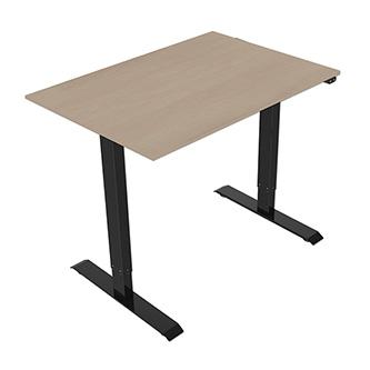 Pracovní stůl, elektricky nastavitelná výška, javor, 75x120cm, hloubka 500 mm, 100V-240V, černý, 70 kg nosnost, ergo