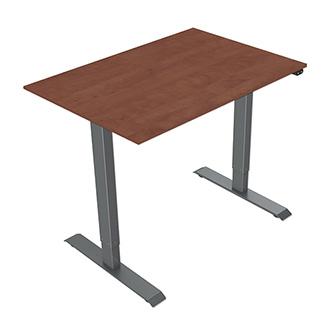 Pracovní stůl, elektricky nastavitelná výška, třešeň, 75x120cm, hloubka 500 mm, 100V-240V, šedý, 70 kg nosnost, ergo