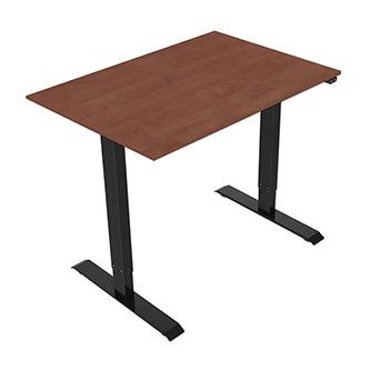 Pracovní stůl, elektricky nastavitelná výška, třešeň, 75x120cm, hloubka 500 mm, 100V-240V, černý, 70 kg nosnost, ergo