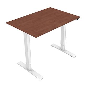 Pracovní stůl, elektricky nastavitelná výška, třešeň, 75x120cm, hloubka 500 mm, 100V-240V, bílý, 70 kg nosnost, ergo