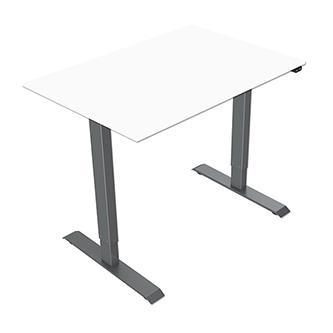 Pracovní stůl, elektricky nastavitelná výška, bílá deska, 75x120cm, hloubka 500 mm, 100V-240V, šedý, 70 kg nosnost, ergo