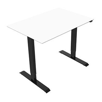 Pracovní stůl, elektricky nastavitelná výška, bílá deska, 75x120cm, hloubka 500 mm, 100V-240V, černý, 70 kg nosnost, ergo