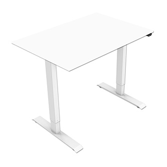 Pracovní stůl, elektricky nastavitelná výška, bílá deska, 75x120cm, hloubka 500 mm, 100V-240V, bílý, 70 kg nosnost, ergo