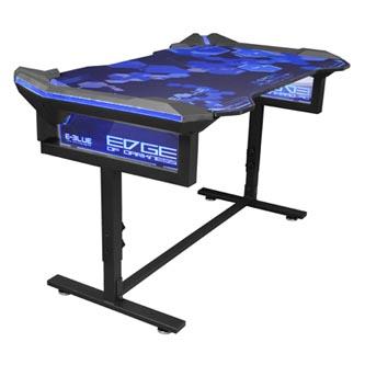 E-Blue Herní stůl EGT004BK, 135x78,5x69,5 cm, RGB podsvícení, výškově nastavitelný, s podložkou pod myš