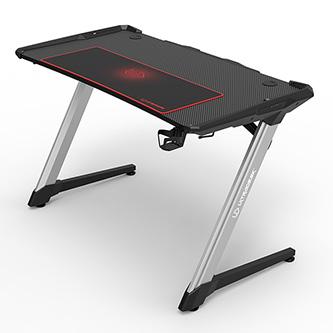 ULTRADESK Herní stůl RACER, 120X64X77 cm, RGB podsvícení, se 4 XXL podložkami pod myš, s 2 háky pro sluchátka
