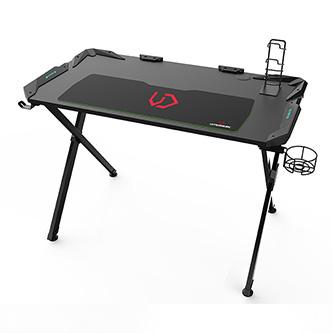 ULTRADESK Herní stůl ACTION, 113x61x77 cm, podsvícený, s XXL podložkou pod myš, držák sluchátek i nápojů