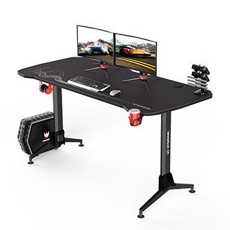 ULTRADESK Herní stůl GRAND BLACK, 160x70 cm, 70-80 cm, 3 úrovně výšky, s XXL podložkou pod myš, držák sluchátek i nápojů