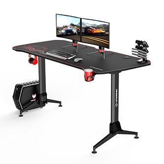 ULTRADESK Herní stůl GRAND RED, 160x70 cm, 70-80 cm, 3 úrovně výšky, s XXL podložkou pod myš, držák sluchátek i nápojů
