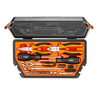 Sada nářadí, 08-631, kleště, šroubováky, ráčna, z chrom-vanadiové oceli, Neo Tools