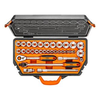 Sada nářadí, 08-618, nástrčné hlavice, praktická rukojeť, ráčna, z chrom-vanadiové oceli, Neo Tools