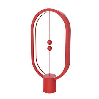 Stolní lampa Heng Balance Ellipse, červená, 5V/1A, teplá bílá, USB, s vypínačem ve vzduchu, Allocacoc