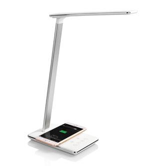 Stolní LED lampa s bezdrátovým nabíjením, stmívatelná, bílá, 5V/9V, micro USB, USB výstup, QC adaptér, Qi