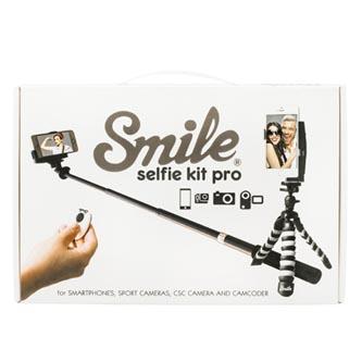 Selfie sada PRO, kov/plast, černá, s dálkovým ovládáním bluetooth a držákem, s obalem, Smile