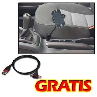 Držák mobilu,PDA,GPS LOGO kloubový, do auta, černý, plast, s USB adaptérem 1.5A + LOGO kabel se super konekt., černá, mobil